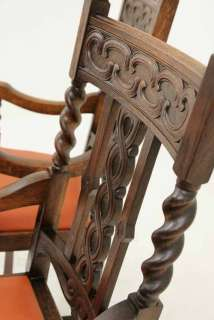 Antique Scottish Carved Oak Barley Twist Throne, Dining Chairs
