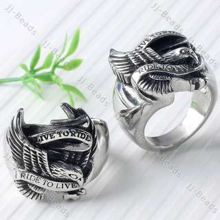 Gothic Punk Men Hawk Eagle Ring Stainless Steel Size US 10 / UK 1/2 T