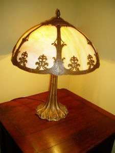 WONDERFUL ANTIQUE ART NOUVEAU PANELED GLASS LAMP