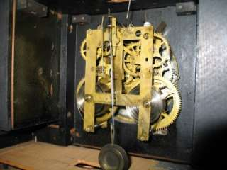 EARLY GILBERT CURFEW CLOCK WITH LARGE BRASS BELL ON TOP