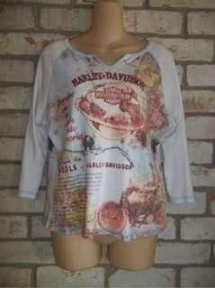 HARLEY DAVIDSON Motor Cycles 3/4 sleeve Tee Top Shirt XL
