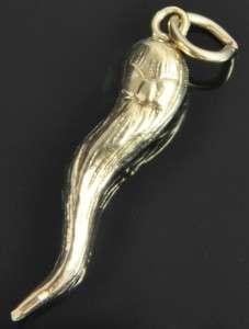 Estate Vtg 14K Yellow Gold Fortuna Blind Goddess Italian Horn 3D Charm