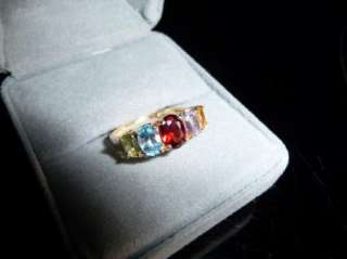 10k Gold Multi Color Gemstone 5 Row Oval Stone Row Ring