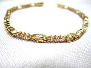 Ladies 14K Yellow Gold and Diamond Tennis Bracelet