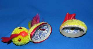 1950 WEST GERMAN PAPER MACHE CHENILLE ROOSTER CANDY CONTAINER