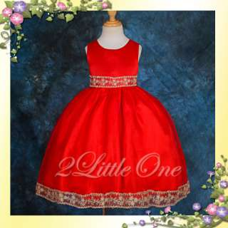 Red Wedding Flower Girls Pageant Party Dress Size 4 5