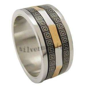 Mens Silver Black Gold Tone Stainless Steel Band Ring New