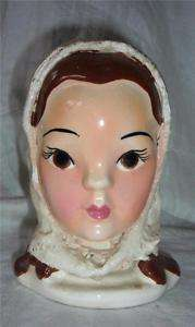 Vtg California Pottery Lady Head Vase Brown Eyed Girl