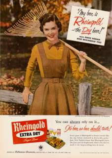 1952 Miss Rheingold Beer Raking Leaves Photo print ad