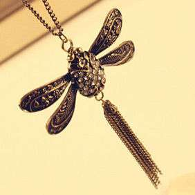 Retro Vintage Smart Dragonfly Tassel Cute Pendant Necklace Chain 5151