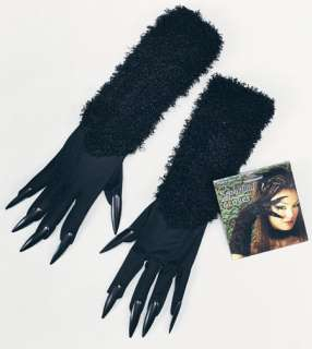 CAT WOMAN LONG GLOVES Claws Halloween Witch Fancy Dress
