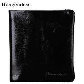 New Style Men Black Brown Genuine Leather Logo Embossed Bifold Card