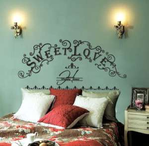 SWEET LOVE Headboard Wall Decor Sticker Decal Bed Frame