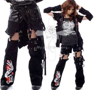 Japan Visual Kei CAPE 3WAY Zombie INK Goth Skirt Pants