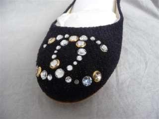 NIB 2012 CHANEL black rhinestones logo ballerina flats shoes   IT 38