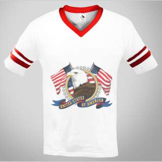 United States Of America Mens V neck Ringer T shirt Bald Eagle USA