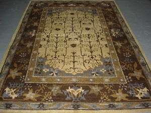 Tibetan Damask Cream Hand Woven Oriental Rug 6X9 Carpet