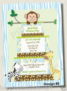 Printed JUNGLE CAKE Boys Neutral BABY SHOWER INVITATION 1st BIRTHDAY
