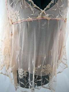 tan embroidered tulle net lace per yard