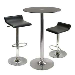 Black Glass Top with 2 Air Lift Adjustable Stools