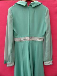 VTG 70s Mint Green Maxi Long Dress Chiffon Sleeves BOHO