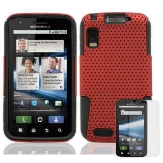 Motorola Atrix MB860 2 in1 Hybrid Cover Case Red/Black + Screen