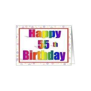 55 Years Old Birthday Cards Rainbow text with Star Border