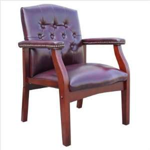 VINYL GUEST CHAIR W/ MAHOGANY FINISH   Delivered