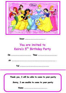 PERSONALISED DISNEY PRINCESS1 PARTY INVITATIONS x 10