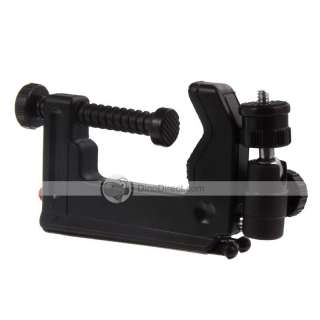 The neck of C Clamp Tripod swivels off of a hitch, but can be locked