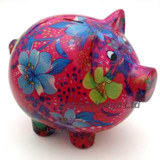 GIANT PIGGY BANK Big Colourful Pink Pig Coin Money Savings Box Ceramic