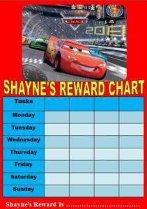 Personalised Cars Reward chart FREE STICKERS