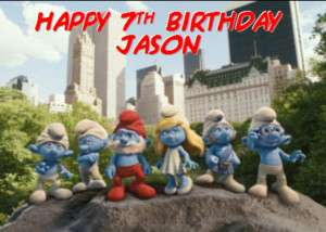 Smurfs the movie Personalised Birthday Card A6