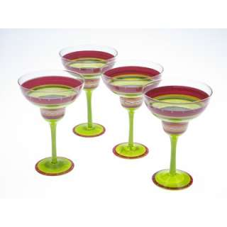 Certified International Hot Tamale Hand Painted Margarita Glass (Set