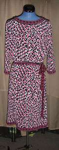 Dana Buchman M pink black white dress animal print