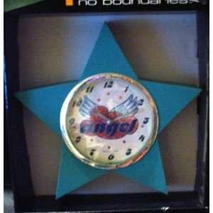 No Boundaries Blue Star Angel Clock Sterling & Noble Angel Wings