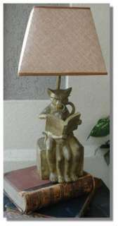 Mother Cat & her Kitten Reading w Magnify Glass Table Lamp end side