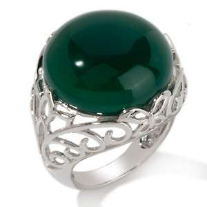 Art of Asia Green Agate Sterling Silver Openwork Ring