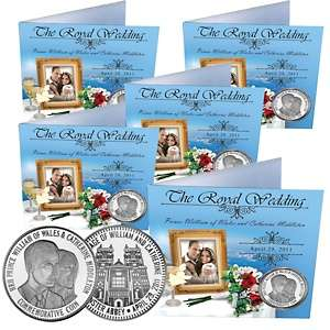 Prince William and Kate Silver Plated Commemorative Coins   Set of 5
