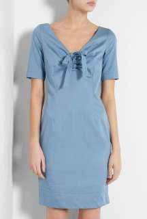Love Moschino  Blue Short Sleeved Bow Front Cotton Stretch Dress by
