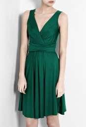 DKNY  Emerald Green Sleeveless V Neck Dress by DKNY