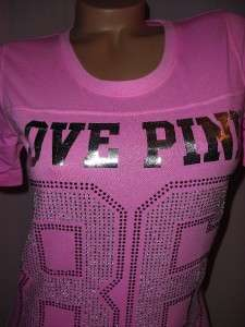 Victorias Secret LOVE PINK 86 Crystal BLING T shirt Sexy Jersey NEON
