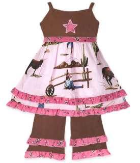 AnnLoren Girls Cowgirl & Horses Dress & Pant Clothing