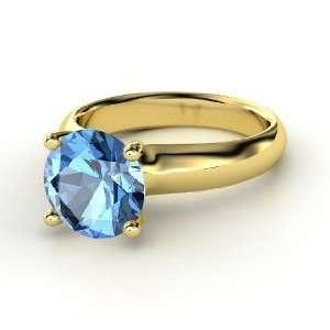 Bardot Ring, Round Blue Topaz 14K Yellow Gold Ring Jewelry