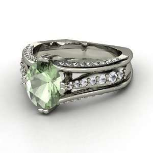 Concerto Ring, Oval Green Amethyst 14K White Gold Ring