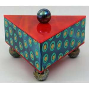 Artistic Glass Jewelery Trinket Box   Lg Rectangular