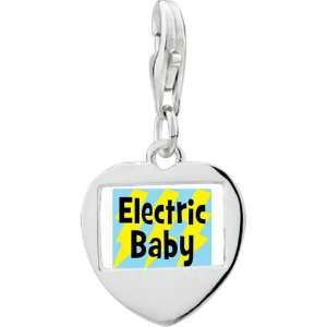 Silver Gold Plated Music Electric Baby Photo Heart Frame Charm