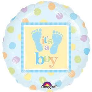 18 inch Baby shower balloon footprints mylar boy  Toys & Games