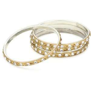 by priya kakkar 4 White & Gold Crystal Bangles with Gold Hardware