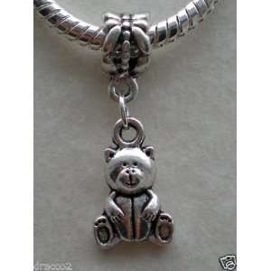 Divine Beads Teddy Bear dangle charm bead fits Pandora, Biagi, Tedora